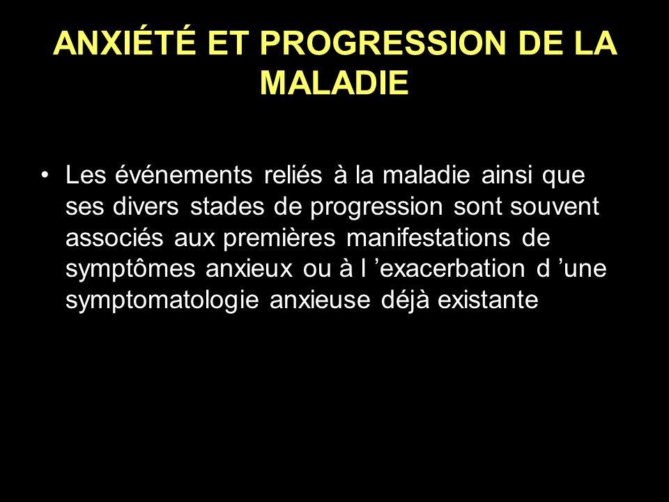 ANXIÉTÉ ET PROGRESSION DE LA MALADIE