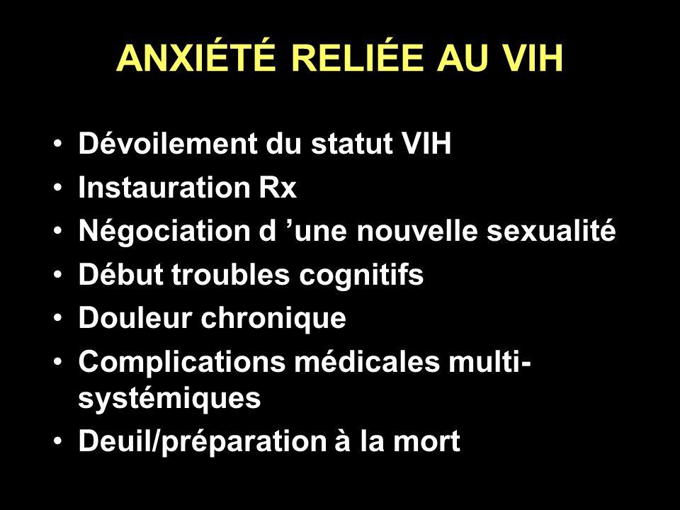 ANXIÉTÉ RELIÉE AU VIH Dévoilement du statut VIH Instauration Rx