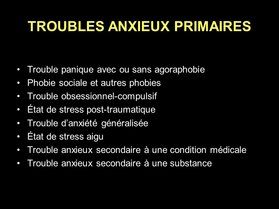 TROUBLES ANXIEUX PRIMAIRES