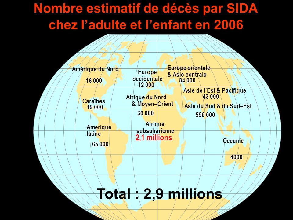 Nombre estimatif de décès par SIDA chez l'adulte et l'enfant en 2006