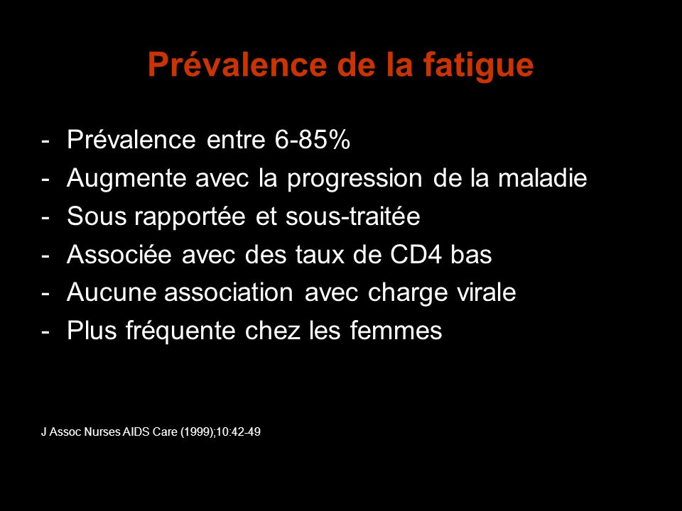 Prévalence de la fatigue