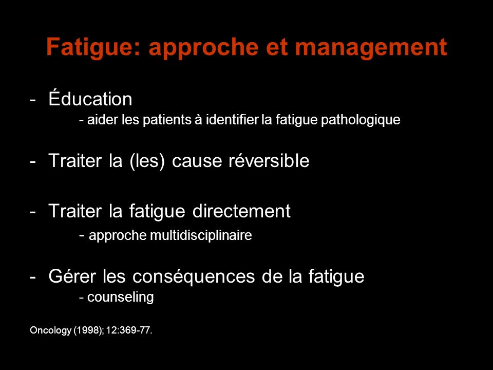 Fatigue: approche et management
