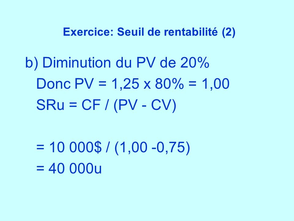 Exercice: Seuil de rentabilité (2)