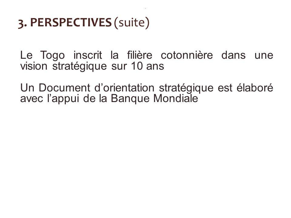 . 3. PERSPECTIVES (suite) Le Togo inscrit la filière cotonnière dans une vision stratégique sur 10 ans.