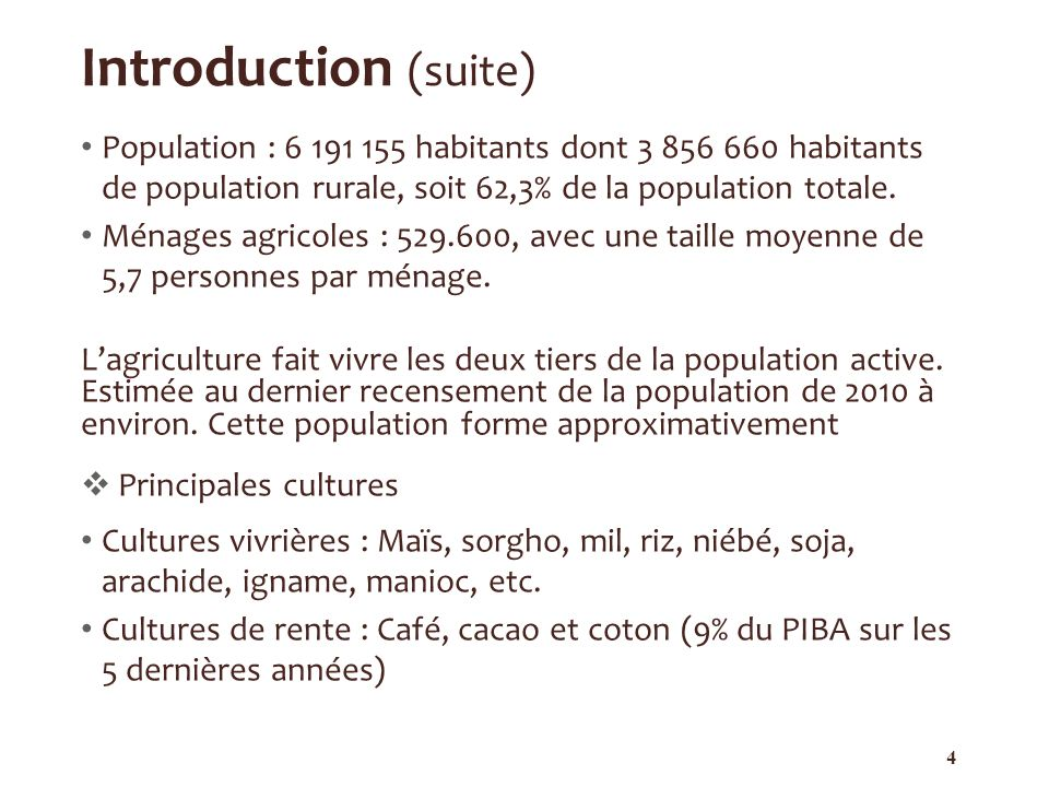 Introduction (suite) Population : 6 191 155 habitants dont 3 856 660 habitants de population rurale, soit 62,3% de la population totale.