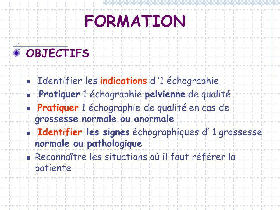 FORMATION OBJECTIFS Identifier les indications d '1 échographie