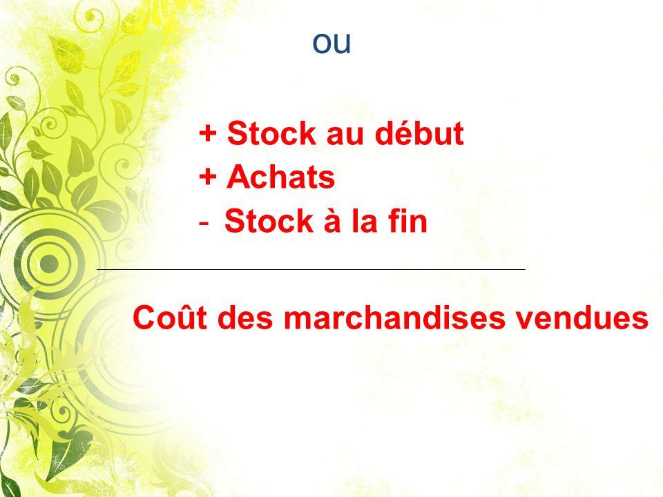 ou + Achats Stock à la fin Coût des marchandises vendues