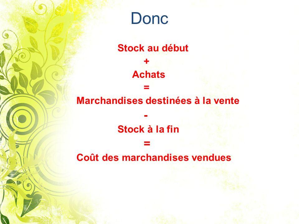 Donc + Achats = Marchandises destinées à la vente - Stock à la fin