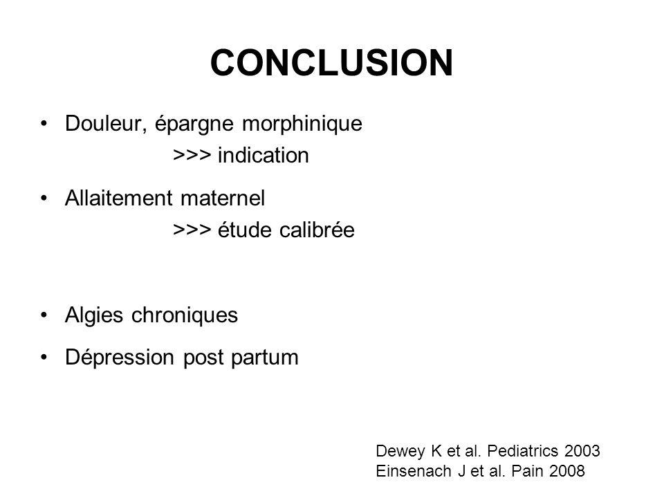 CONCLUSION Douleur, épargne morphinique >>> indication