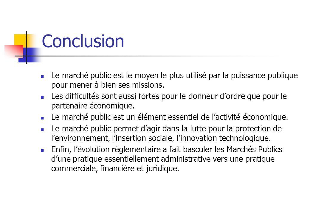 Conclusion Le marché public est le moyen le plus utilisé par la puissance publique pour mener à bien ses missions.