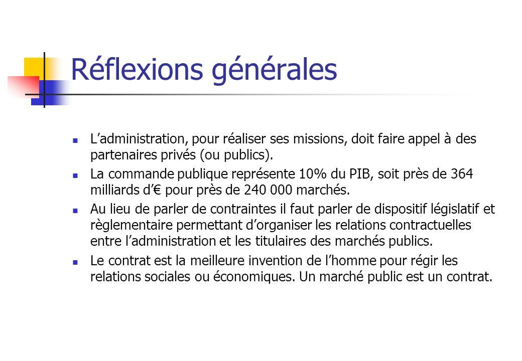 Réflexions générales L'administration, pour réaliser ses missions, doit faire appel à des partenaires privés (ou publics).