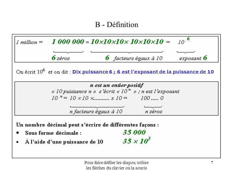 B - Définition Dix puissance 6 ; 6 est l'exposant de la puissance de 10.