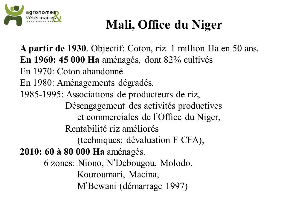 Mali, Office du Niger A partir de 1930. Objectif: Coton, riz. 1 million Ha en 50 ans. En 1960: 45 000 Ha aménagés, dont 82% cultivés.