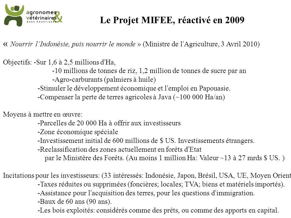 Le Projet MIFEE, réactivé en 2009