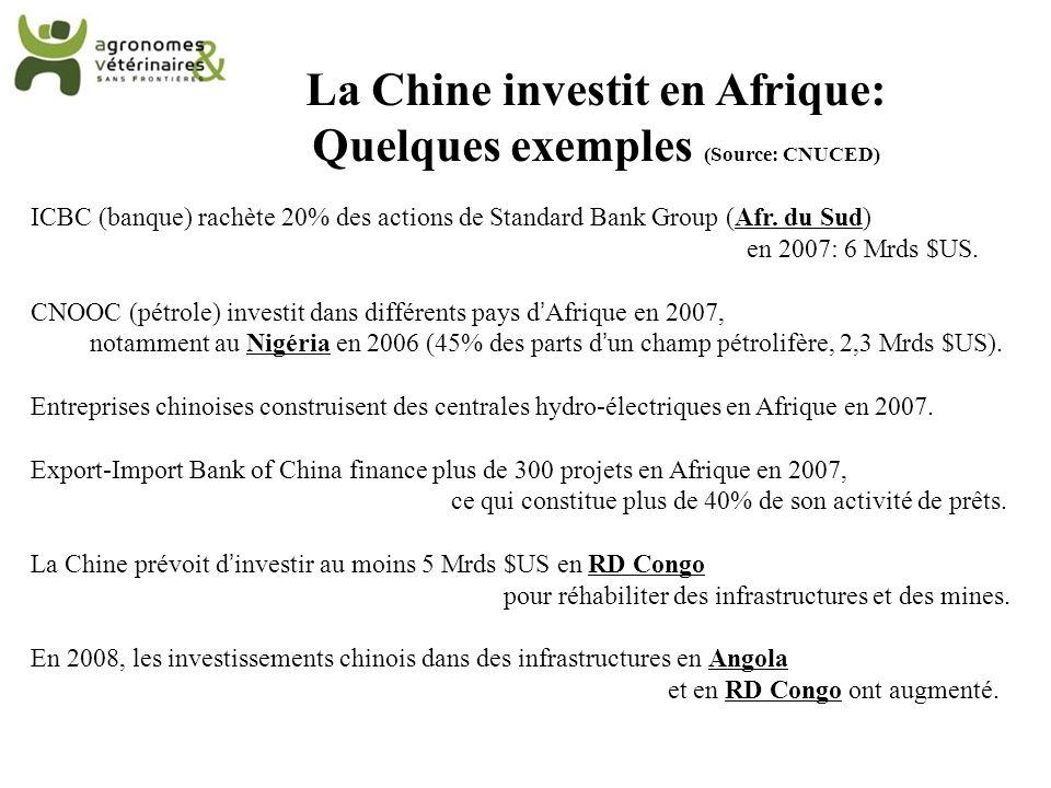 La Chine investit en Afrique: Quelques exemples (Source: CNUCED)