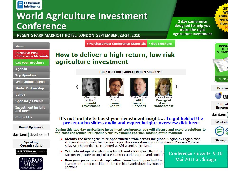 Conférence suivante: 9-10 Mai 2011 à Chicago