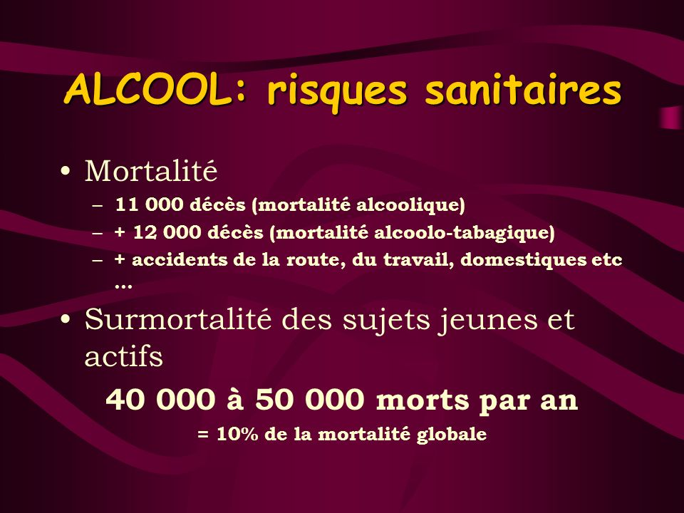 ALCOOL: risques sanitaires