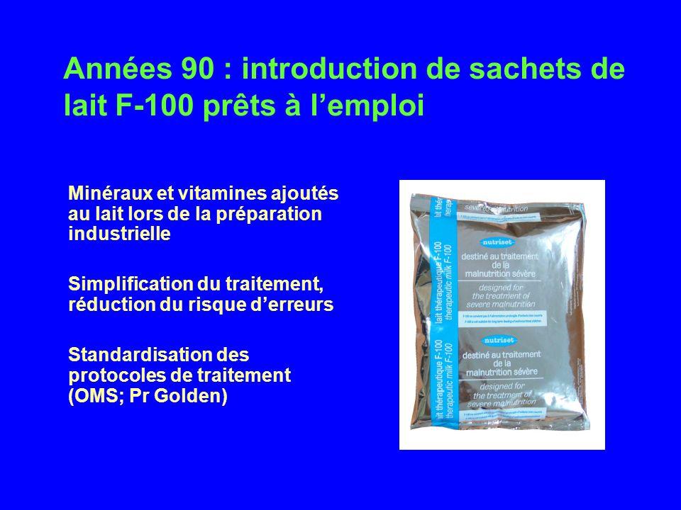 Années 90 : introduction de sachets de lait F-100 prêts à l'emploi