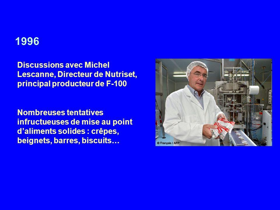 1996 Discussions avec Michel Lescanne, Directeur de Nutriset, principal producteur de F-100.