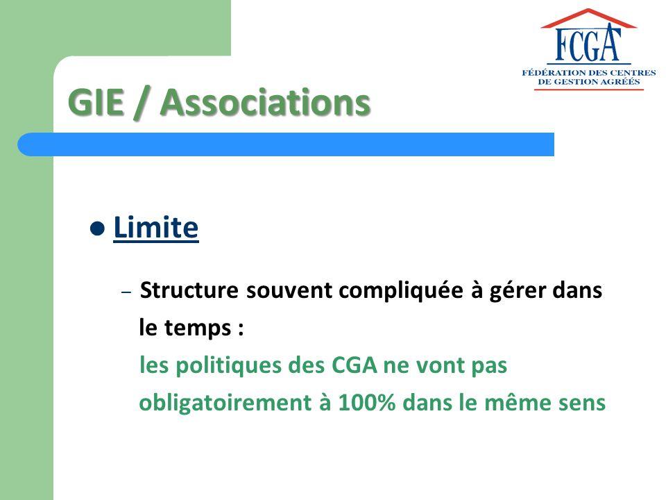 GIE / Associations Limite Structure souvent compliquée à gérer dans