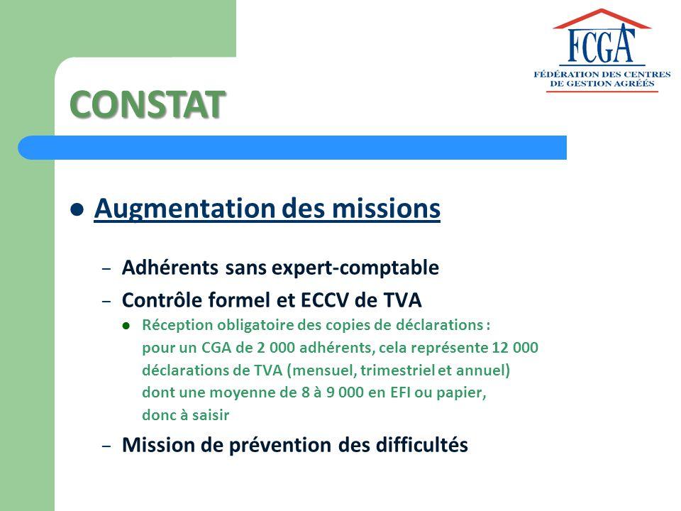 CONSTAT Augmentation des missions Adhérents sans expert-comptable