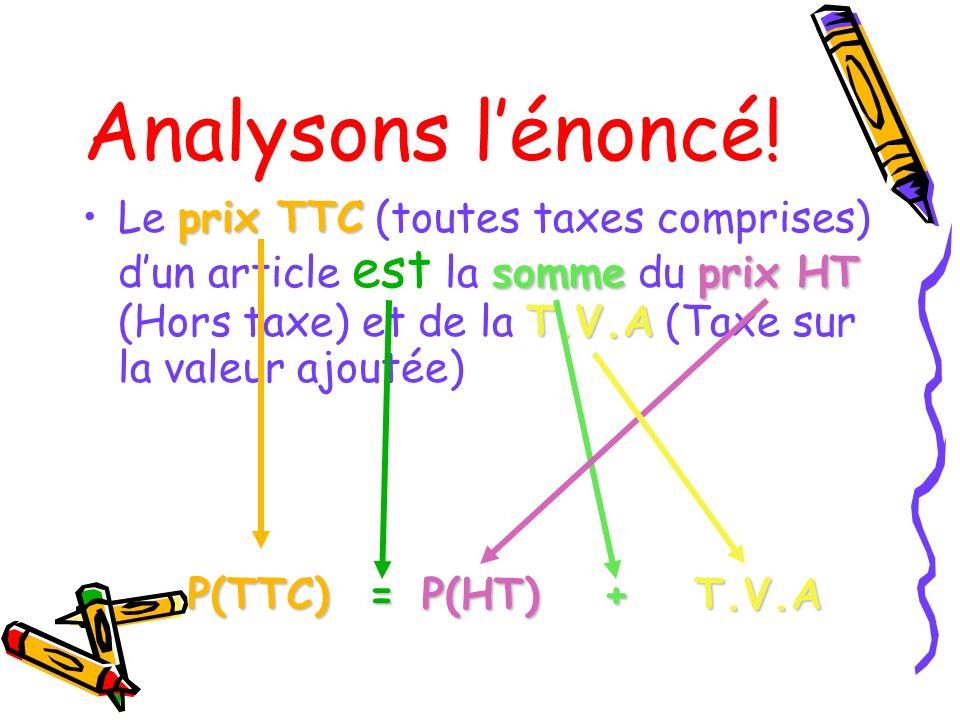 Analysons l'énoncé! Le prix TTC (toutes taxes comprises) d'un article est la somme du prix HT (Hors taxe) et de la T.V.A (Taxe sur la valeur ajoutée)