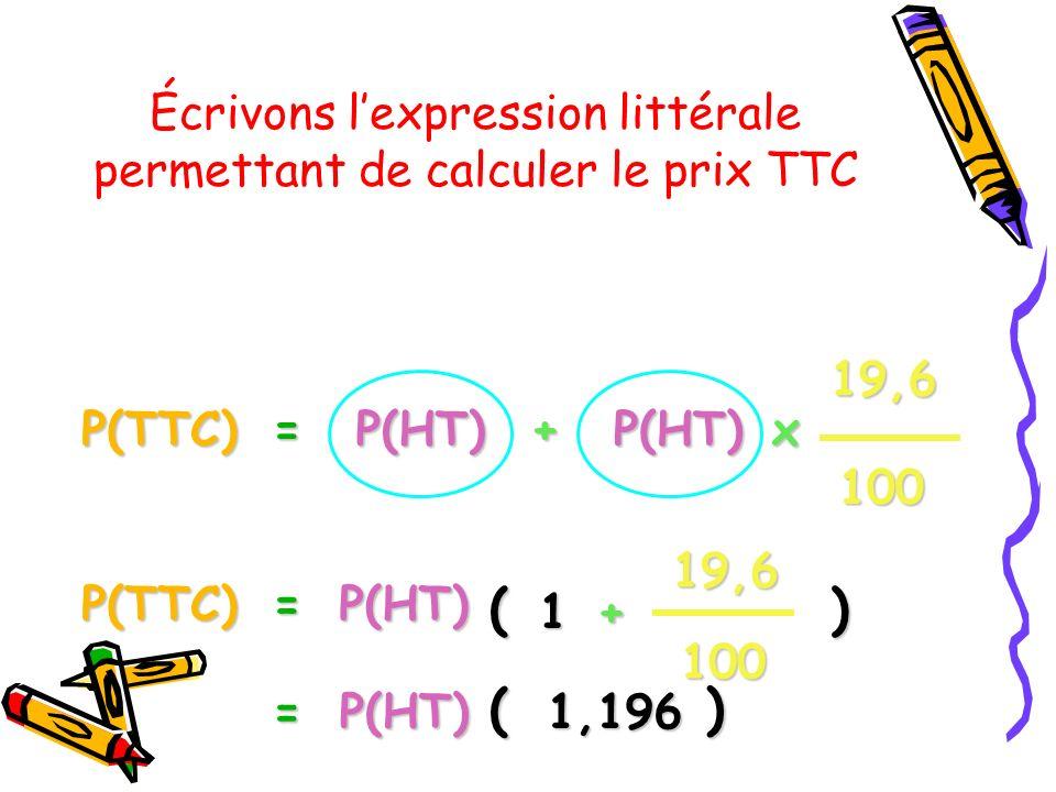 Écrivons l'expression littérale permettant de calculer le prix TTC