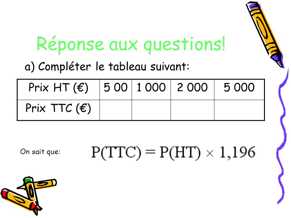 Réponse aux questions! a) Compléter le tableau suivant: Prix HT (€)