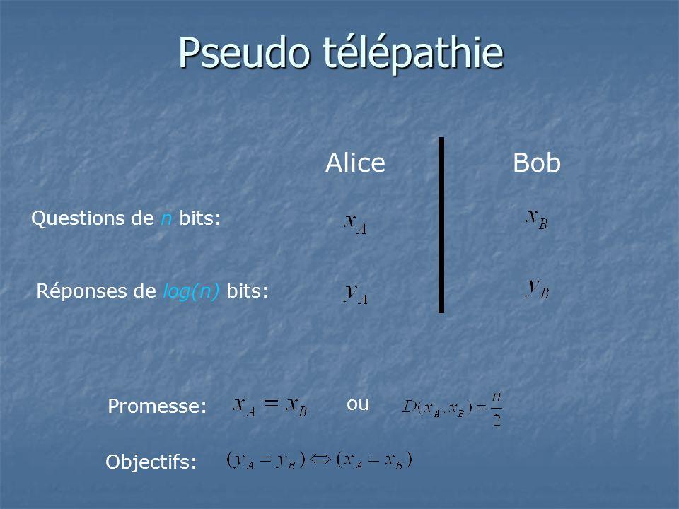 Pseudo télépathie Alice Bob Questions de n bits: