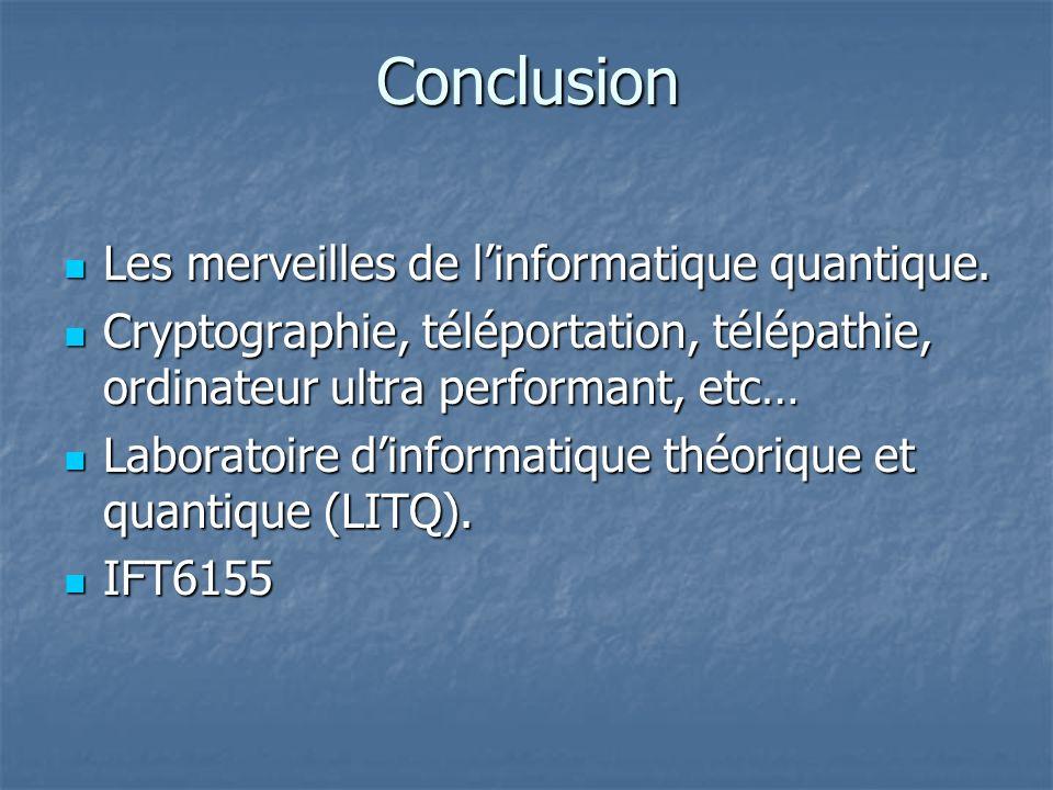 Conclusion Les merveilles de l'informatique quantique.
