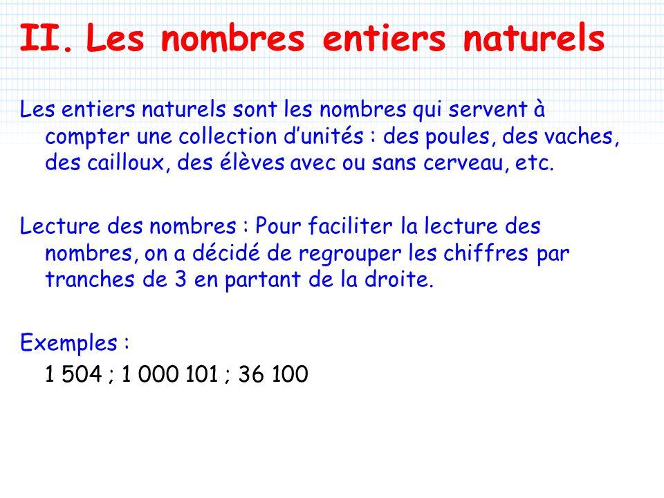 II. Les nombres entiers naturels