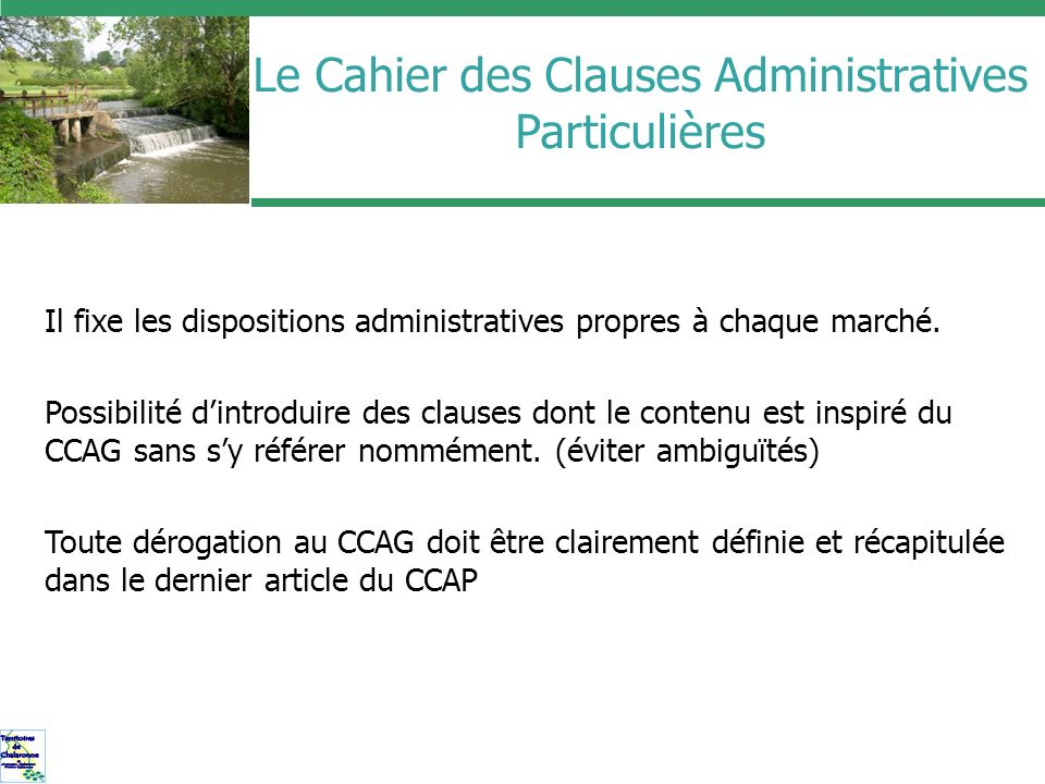 Le Cahier des Clauses Administratives Particulières