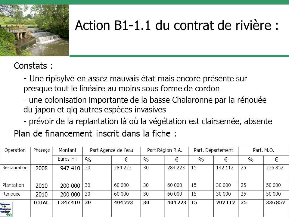 Action B1-1.1 du contrat de rivière :