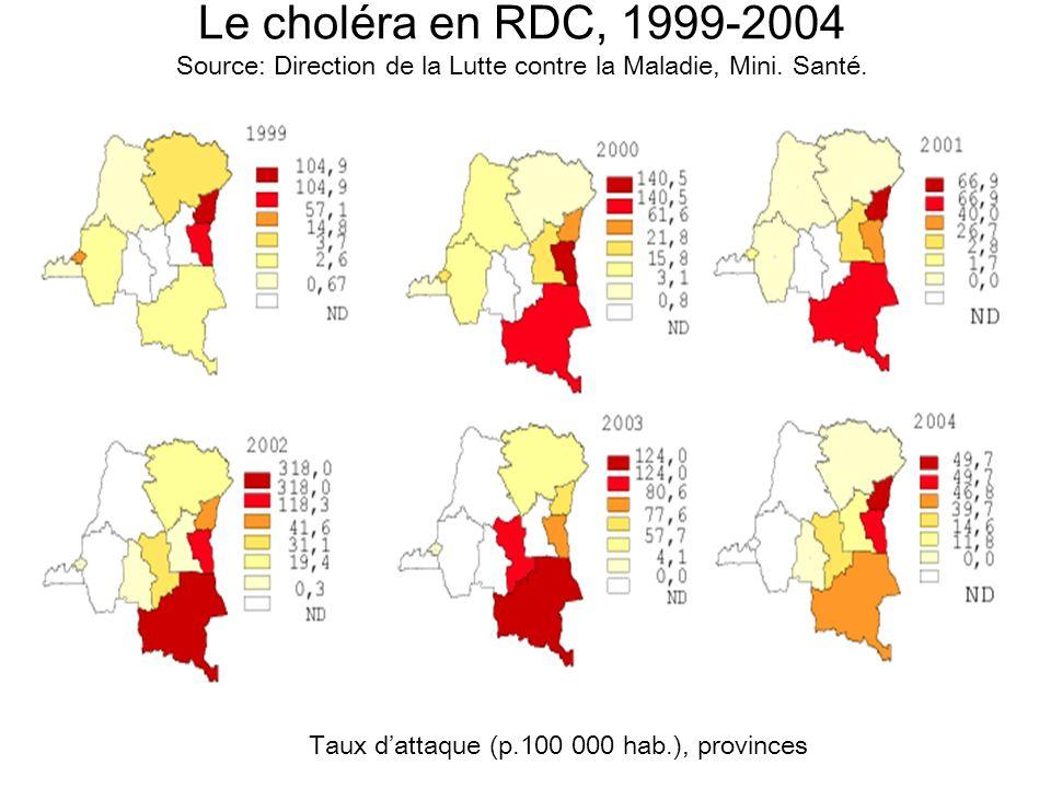 Taux d'attaque (p.100 000 hab.), provinces