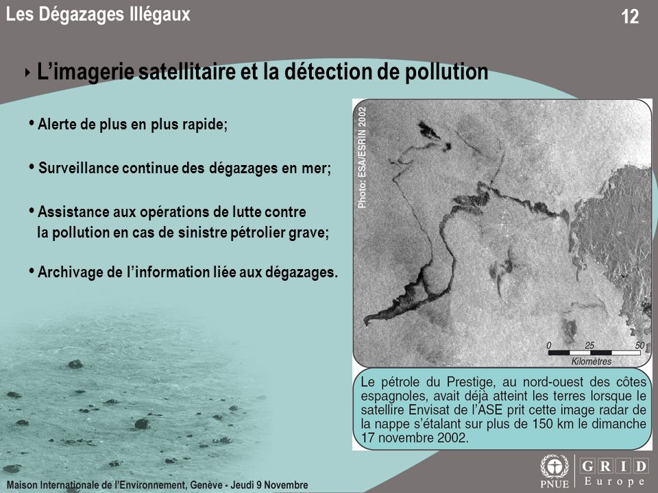 ‣ L'imagerie satellitaire et la détection de pollution