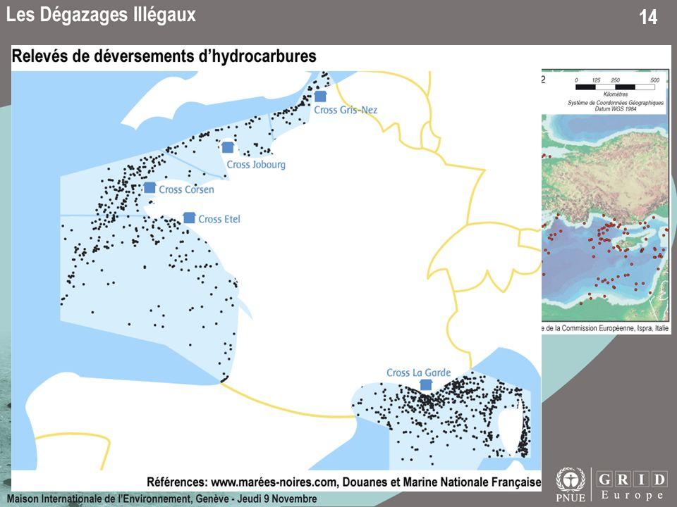 A partir de 2 240 images radar SAR, Rle projet MIDIV a détecté 1 400 traces de pétrole à la surface de la Méditerranée pour 2002(d).