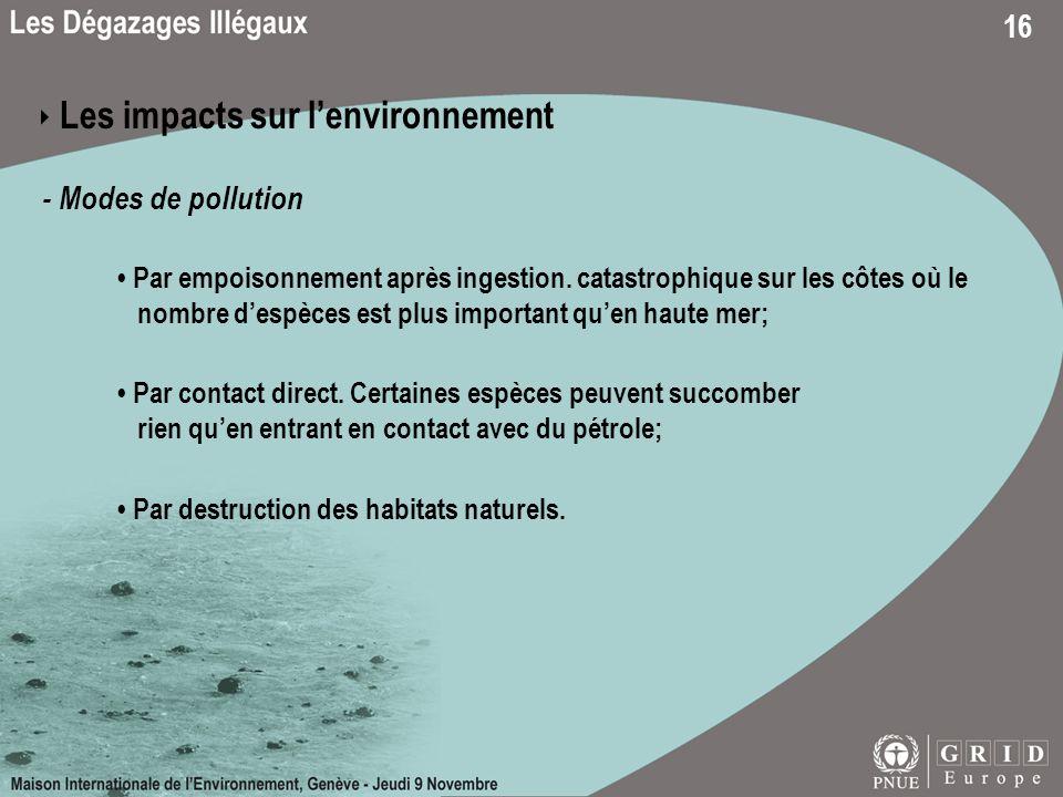 ‣ Les impacts sur l'environnement