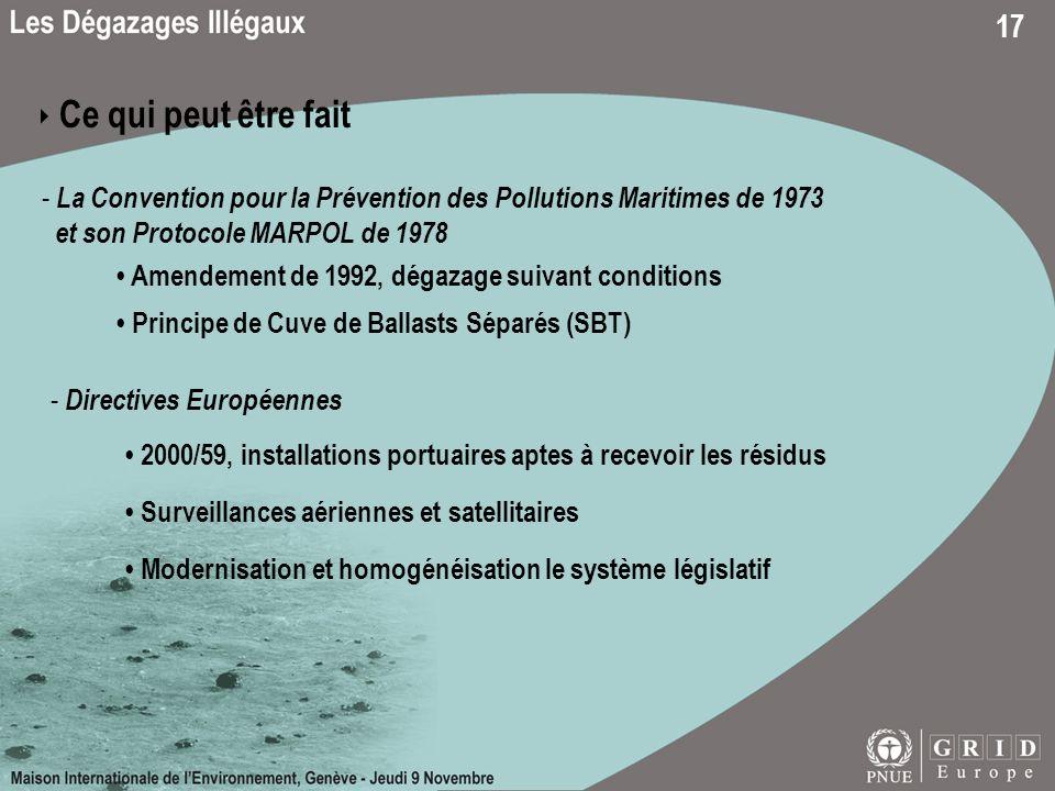 ‣ Ce qui peut être fait La Convention pour la Prévention des Pollutions Maritimes de 1973. et son Protocole MARPOL de 1978.