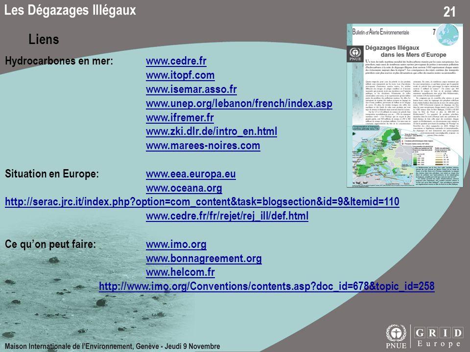 Liens Hydrocarbones en mer: www.cedre.fr www.itopf.com