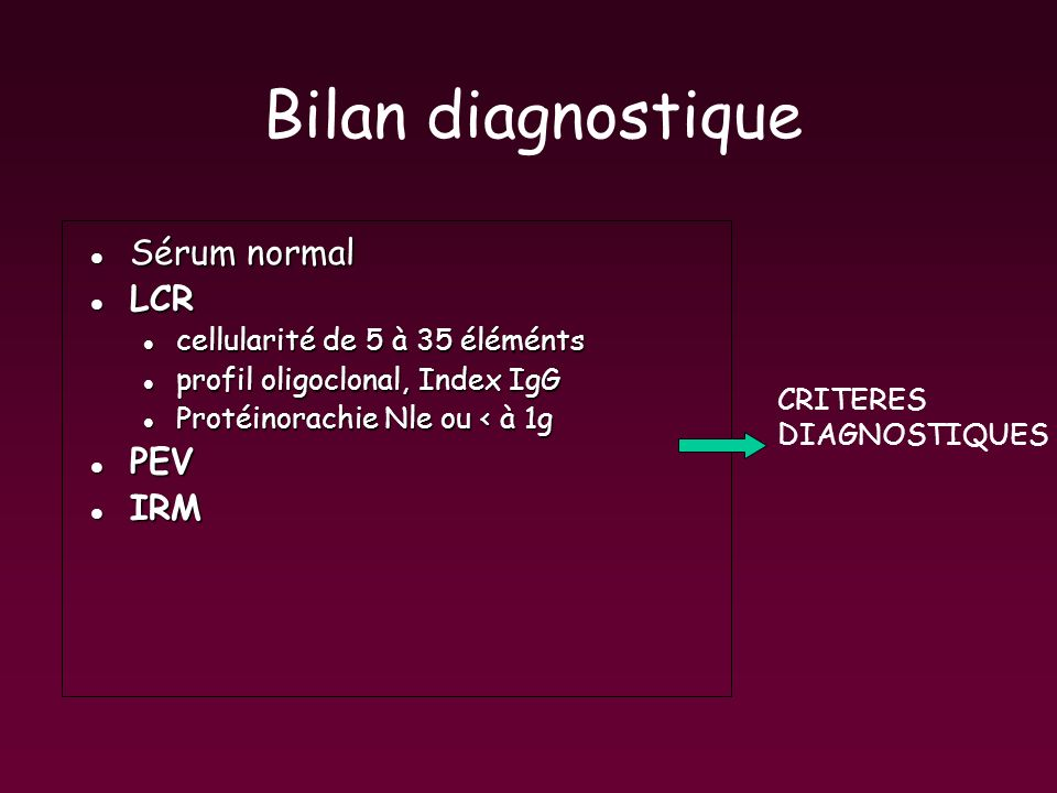 Bilan diagnostique Sérum normal LCR PEV IRM