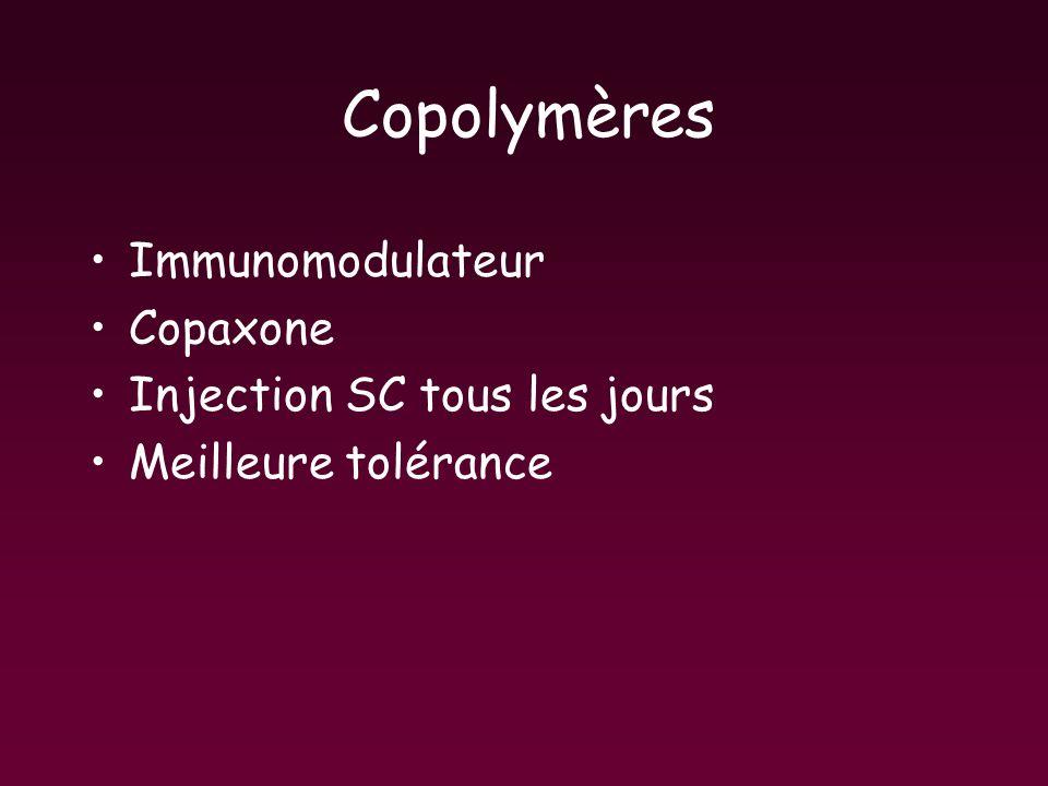 Copolymères Immunomodulateur Copaxone Injection SC tous les jours