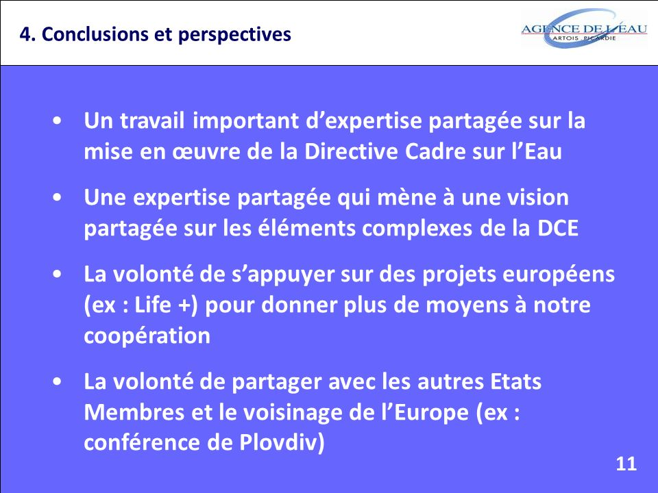 4. Conclusions et perspectives