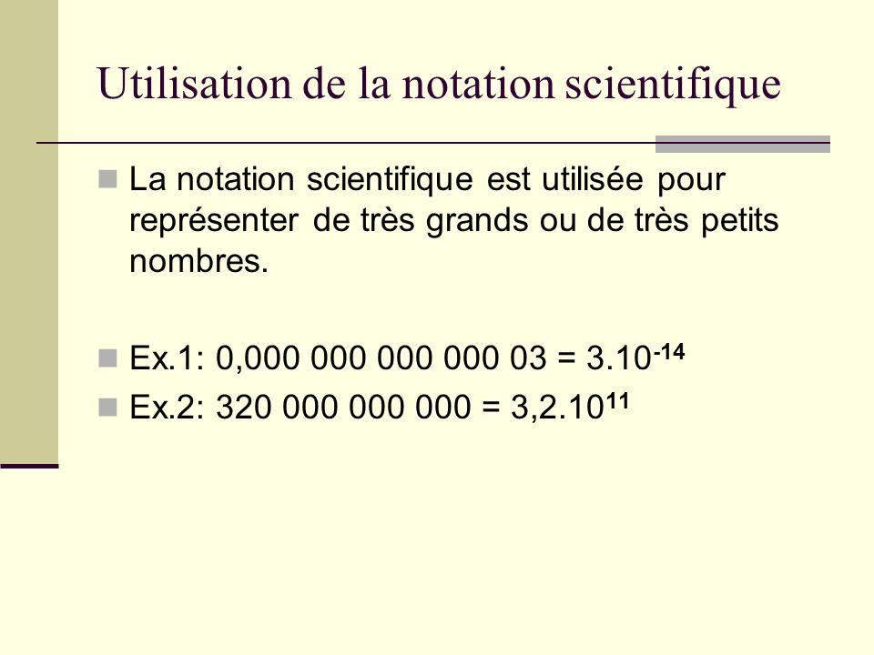 Utilisation de la notation scientifique