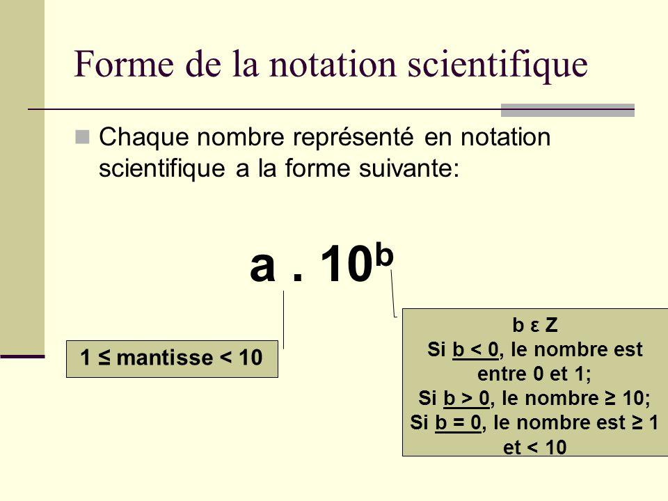 Forme de la notation scientifique