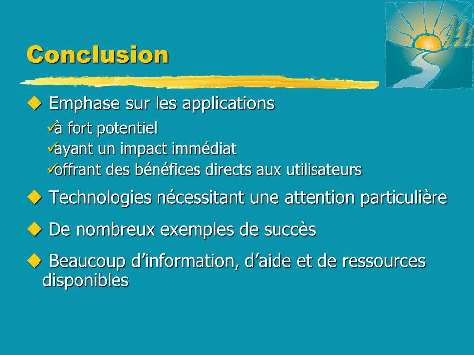 Conclusion Emphase sur les applications