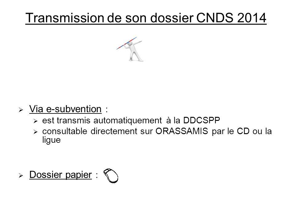 Transmission de son dossier CNDS 2014