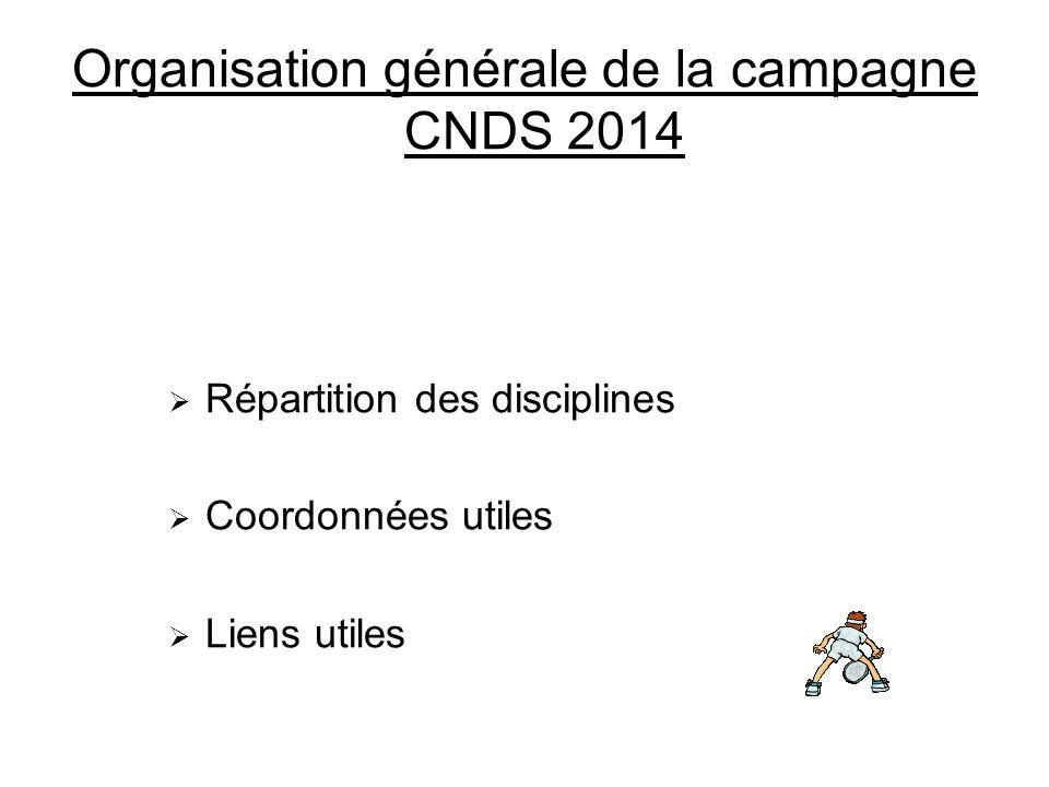 Organisation générale de la campagne CNDS 2014