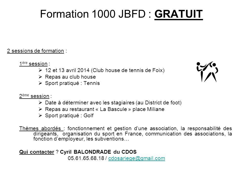 Formation 1000 JBFD : GRATUIT
