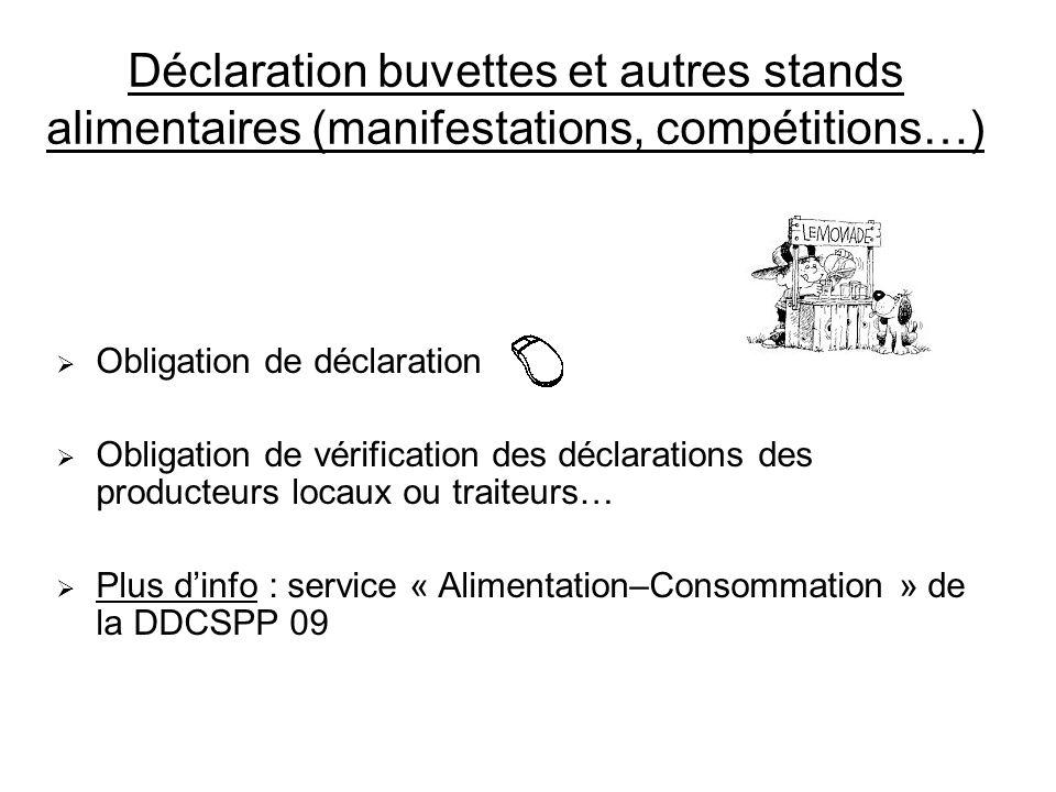 Déclaration buvettes et autres stands alimentaires (manifestations, compétitions…)