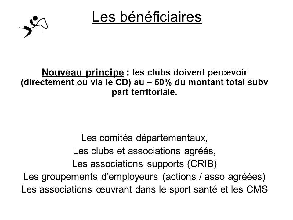Les bénéficiaires Nouveau principe : les clubs doivent percevoir (directement ou via le CD) au – 50% du montant total subv part territoriale.